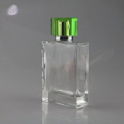 Opal made glass bottle for 100 perfume with green clear cover